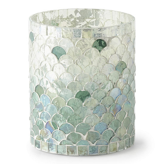 Elements 5in Turquoise Fade Mosaic Glass Candle Holder