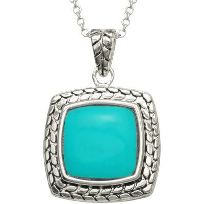 Simulated Turquoise Square Pebble Pendant