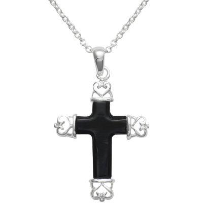 Genuine Black Onyx Cross Pendant