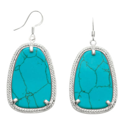 Genuine Turquoise Abstract Drop Earrings