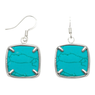 Genuine Restructured Turquoise Square Drop Earrings Sterling Silver