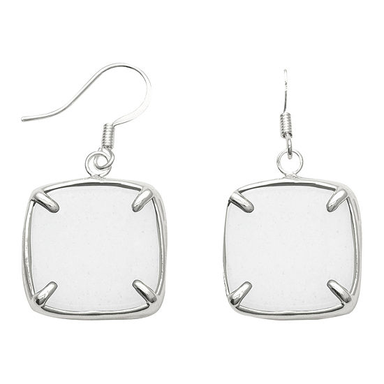 Dyed White Quartz Square Drop Earrings Sterling Silver