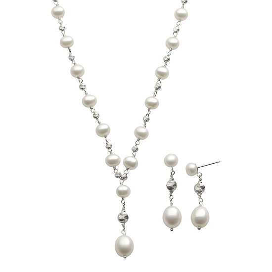Cultured Freshwater Pearl Y Necklace & Earring Set