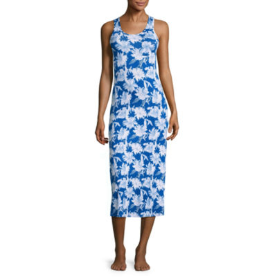 Jersey Sleeveless Scoop Neck Floral Nightgown