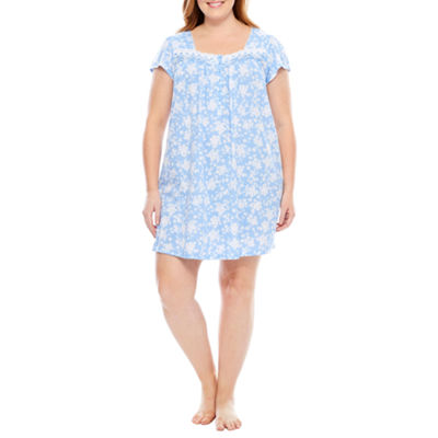 Adonna Jersey Short Sleeve Floral Nightgown-Plus
