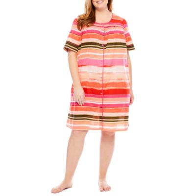 Adonna Poplin Short Sleeve Round Neck Stripe Nightgown