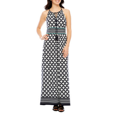 Studio 1 Sleeveless Geometric Maxi Dress