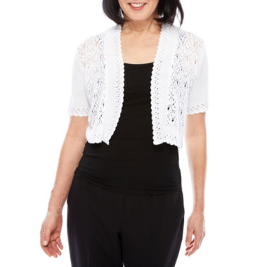 Perceptions Short Sleeve Crochet Square Shrug