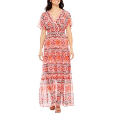 Rabbit Rabbit Rabbit Design Short Sleeve Maxi Dress