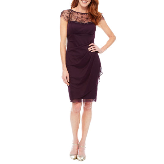 DJ Jazz Cap Sleeve Beaded Neck Sheath Dress