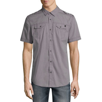 i jeans by Buffalo Mens Short Sleeve Stripe Button-Front Shirt