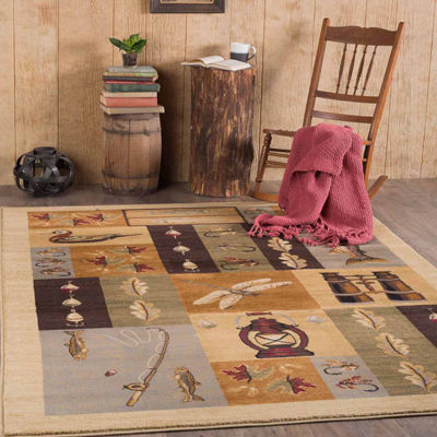 Tayse Nature Fly Fishing Rectangular Rug