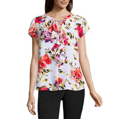 Liz Claiborne® Cap-Sleeve Tiered Print Blouse