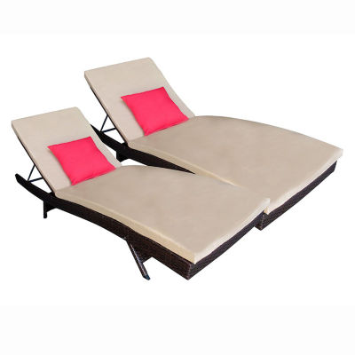 ALEKO Outdoor Patio Wicker Adjustable Lounge Chairs with Cushions Set of 2