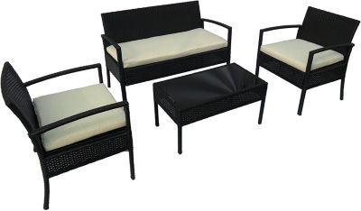 ALEKO Outdoor Linosa Set Rattan Wicker Furniture Coffee Table Set