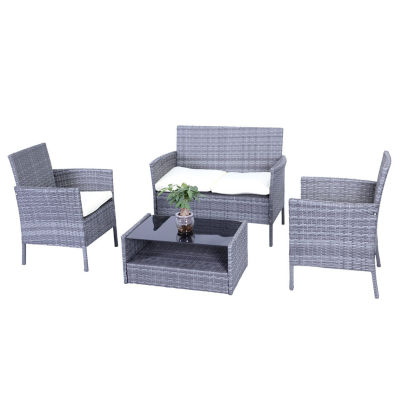 ALEKO Outdoor Hamptons Rattan Patio Furniture with  Cushions and Coffee Table