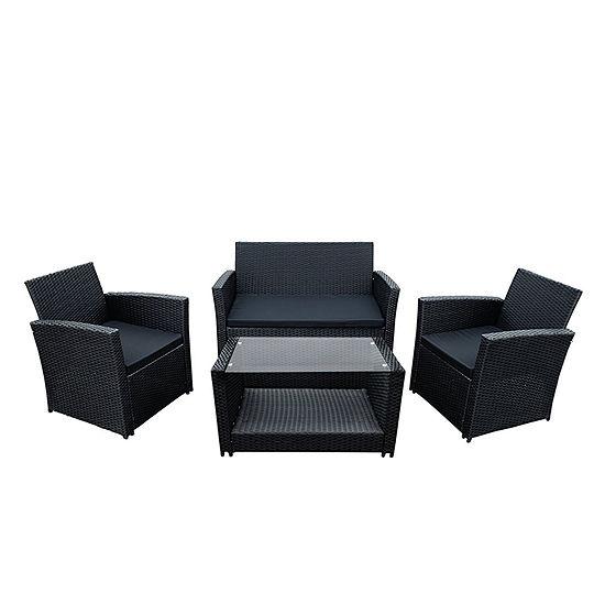 ALEKO Outdoor Lipari Rattan Wicker Furniture Coffee Table Set