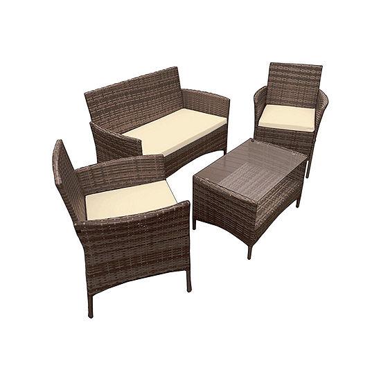 ALEKO Outdoor Caprera Rattan Wicker Furniture Coffee Table Set