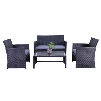 Aleko Outdoor Manhattan Rattan Patio Furniture Coffee Table Set With