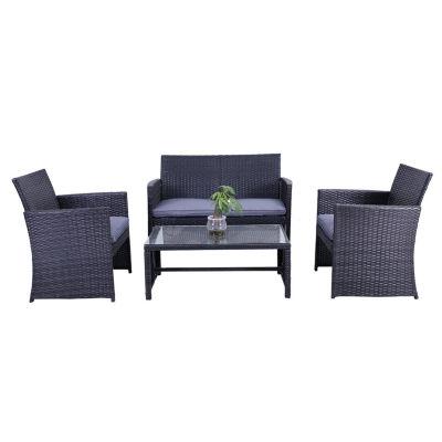 Genial ALEKO Outdoor Manhattan Rattan Patio Furniture Coffee Table Set With  Cushions