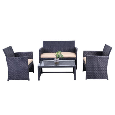 ALEKO Outdoor Rattan Patio Furniture with  Cushions and Coffee Table