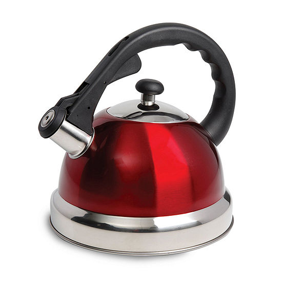 Mr. Coffee® Claredale 1.7 Quart Stainless Steel Whistling Tea Kettle in Red with Nylon Handle