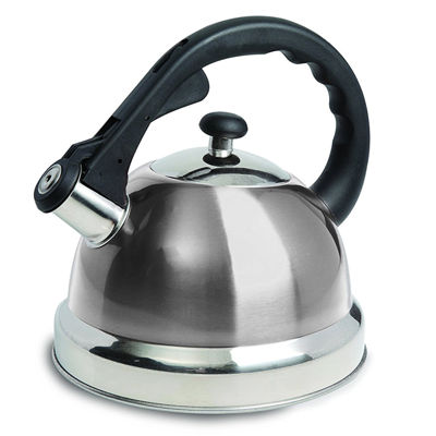 Mr Coffee Claredale 1.7 Quart Brushed Stainless Steel Whistling Tea Kettle with Nylon Handle