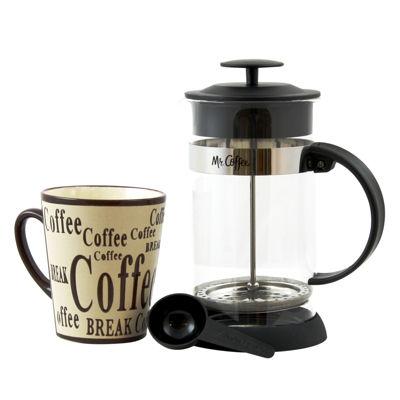 Gibson Mr Coffee Café Oasis 2 piece Glass Coffee Press and Mug Gift Set