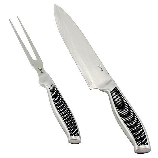 Oster Rowan 2 piece Stainless Steel Santoku Knife Set with Black Textured Handle