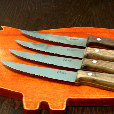 "Oster Whitmore 4 piece 4.5"" Stainless Steel Steak Knife Set with Black Walnut Handle"