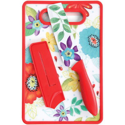 "Jordana 6"" Nakiri W/Sheath and Cutting Board, Red Floral Pattern"