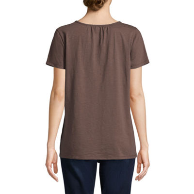 St. John's Bay Short Sleeve Split Crew Neck T-Shirt-Womens