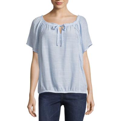 Alyx Womens Round Neck Short Sleeve Blouse