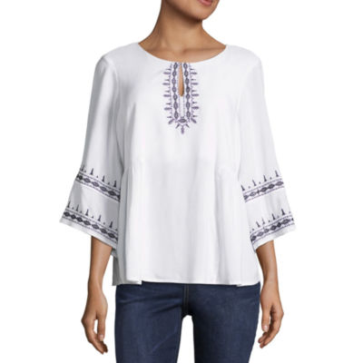 Liz Claiborne 3/4 Sleeve Embroidered Peasant Top