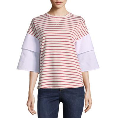 Como Blu 3/4 Tiered Sleeve Crew Neck T-Shirt - Womens