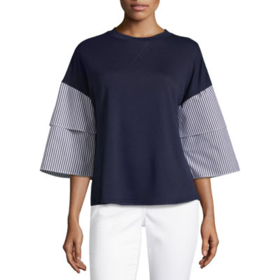 Liz Claiborne 3/4 Tiered Sleeve Crew Neck T-Shirt-Womens