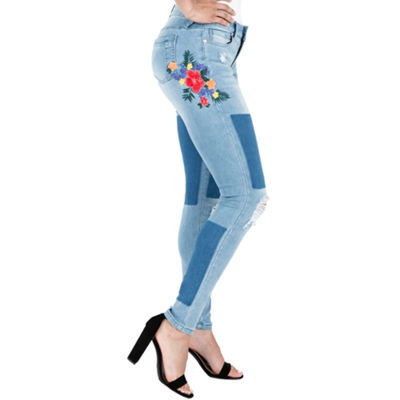 "Poetic Justice Curvy Skinny 29"" Inseam Embroydered Jean"