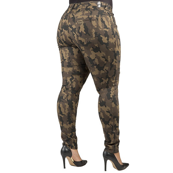 Poetic Justice Curvy Mid-Rise Camo Print Skinny Jean - Plus