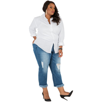 Poetic Justice Curvy Cropped Boyfriend Jean - Plus