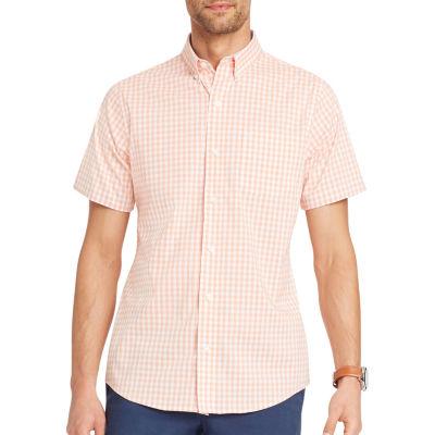 IZOD Short Sleeve Gingham Button-Front Shirt