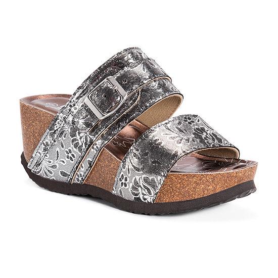 Muk Luks Womens Emery Wedge Sandals