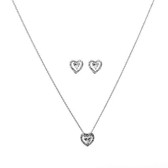 Danecraft Pink Silver Tone 2 Pc Jewelry Set