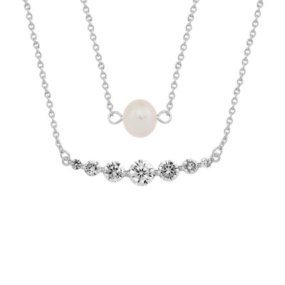 Sparkle Allure Womens White Cultured Freshwater Pearl Pure Silver Over Brass Pendant Necklace