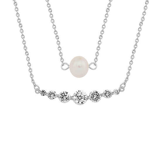 Sparkle Allure White Cultured Freshwater Pearl Pure Silver Over Brass 18 Inch Link Pendant Necklace