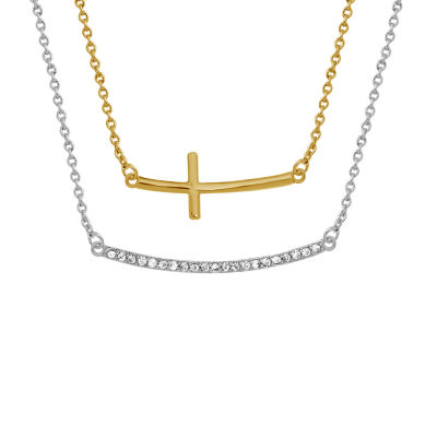 Sparkle Allure Womens White Cubic Zirconia 14K Gold Over Brass Cross Pendant Necklace