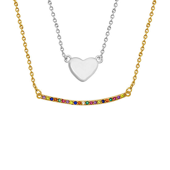 Sparkle Allure Multi Color Stone Pure Silver Over Brass 18 Inch Link Heart Pendant Necklace