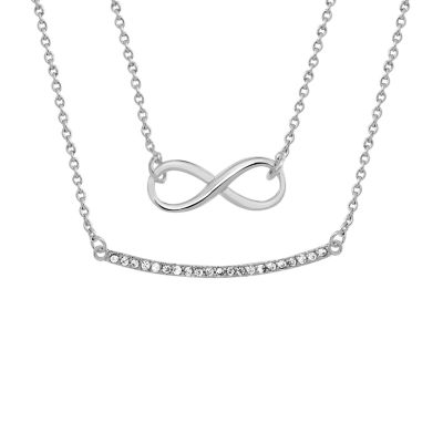 Sparkle Allure Womens White Cubic Zirconia Pure Silver Over Brass Infinity Pendant Necklace