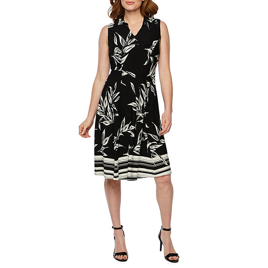 R & K Originals Sleeveless Bordered Fit & Flare Dress