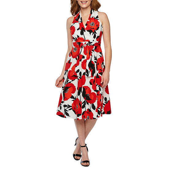 London Style Sleeveless Floral Fit Flare Dress