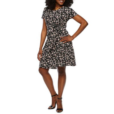 Robbie Bee Short Sleeve Floral Puff Print Wrap Dress-Petite